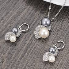 pearl necklace bridal jewelry images Imitation pearl necklace earrings wedding jewelry sets buycoolprice jpg