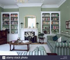 Antique White Bookcases Fitted White Bookcases On Either Side Of Fireplace In Gray Green