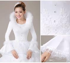 winter wedding dresses white organza cheap muslim wedding dresses 2017 warm sleeves