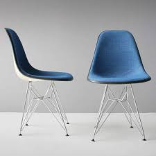 Herman Miller Padded Blue Vintage Chair Six Eames Dsr Upholstered Chairs