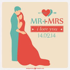 wedding invitation with couple silhouette hugging vector free