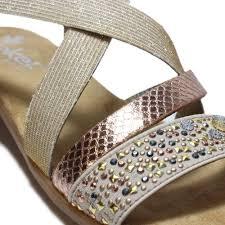 rieker ladies rose elasticated strappy flat sandals v3463 60