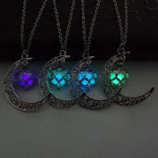 green heart necklace images Glowing moon heart silver plated necklace treasure fan jpg