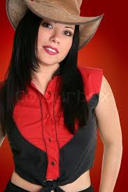 Rugged Clothing Female Wearing A Rugged Leather Hat And Black With Red Country
