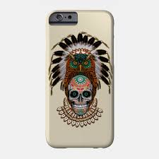 indian owl sugar skull the day of the dead phone