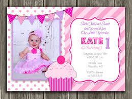 pink and purple cupcake first birthday photo invitation thank