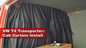 how to hang curtains properly vw t4 transporter camper van cab curtain install youtube