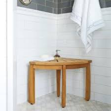 spa teak shower bench with shelf frontgate