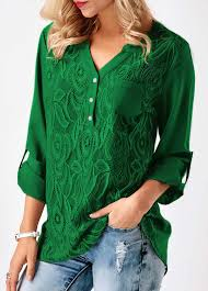 green blouses lace panel roll tab sleeve green blouse rosewe com usd 30 95