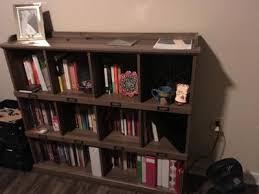 Long Low Bookshelf Sauder Harbor View Library Bookcase With Doors In Salt Oak Finish