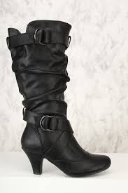 leather motorcycle shoes black ruched chunky heel boots faux leather