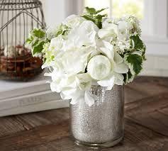 Artificial Flower Arrangement In Vase Faux White Flower Arrangement In Mercury Glass Vase Pottery Barn