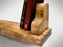 rustic chunky floating shelf with two bookends 15cm x 5cm ben