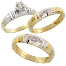 Wedding Rings Sets His And Hers by Gold Plated Sterling Silver Diamond Trio Wedding Ring Set His 5 5