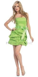 lime green taffeta strapless pick up style bubbled hem short skirt