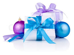 christmas ribbon bows two white boxs with a satin ribbon bow purple and blue
