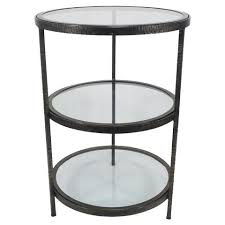 Black Accent Table Threshold Round Metal And Glass Accent Table In Black