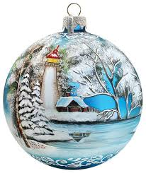 painted scenic glass ornament winter lighthouse limited