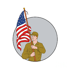 Flag Circle American Soldier Holding Usa Flag Circle Drawing Digital Art By