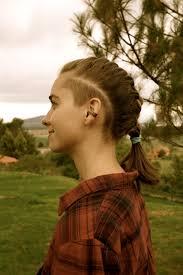 women u0027s hair sidecut undercut shaved head sides woman long