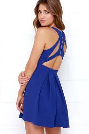 blue dress cobalt blue skater dress homecoming dress 45 00