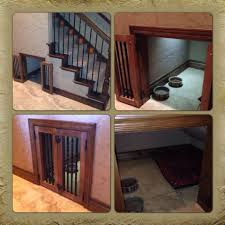 dog crate my husband and his dad built under the stairs they did