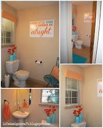 orange u0026 turquoise bathroom with free print