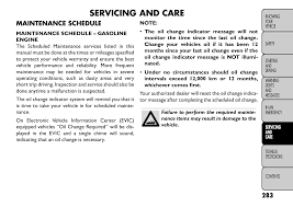 Fiat Freemont Specs Servicing And Care Maintenance Schedule Fiat Freemont User