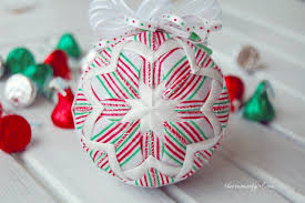 candy christmas ornament red and green candy striped ball