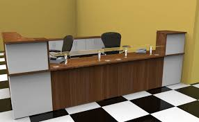 what is a desk return classic reception desk rendered drawing finished in grey and red