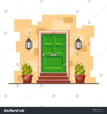 green front door on yellow brick stock vector 439593382 shutterstock