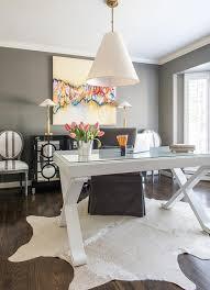 desk rug white x base desk with gray slipper chair transitional den