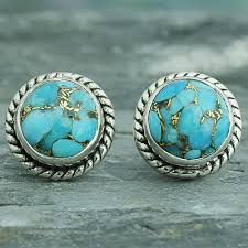 sterling silver composite turquoise stud earrings cool aqua