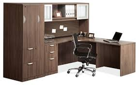 L Shaped Desk With Hutch Os Laminate Series L Shaped Desk W Hutch And Storage