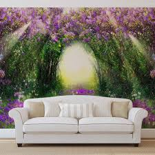 flowers purple forest light beam nature wall paper mural buy at flowers purple forest light beam nature wallpaper mural