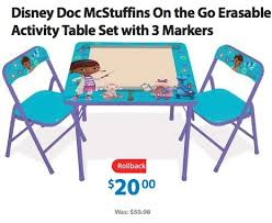 family dollar table and chair set disney doc mcstuffins on the go erasable activity table set w 3