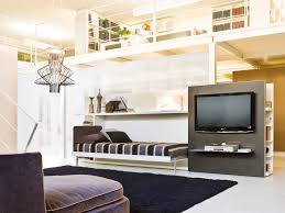 perfect modern loft ideas with center media room feat pull down