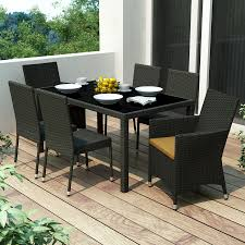 shop corliving park terrace 7 piece river rock black glass patio