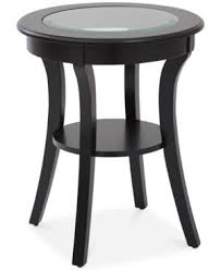 cream round end table rankin round glass top accent table quick ship brown round