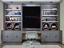 this custom built in doubles as a desk and an entertainment center