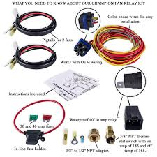 champion cooling 180 degree 40amp electric fan relay kit for