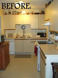 Diy Kitchen Cabinets Makeover White Melamine Kitchen Cabinets With The Oak Trim Gray Garage