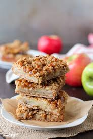 caramel apple bars oat streusel and tender apples topped with