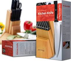 amazon com knife set with wooden block 13 piece chef knife
