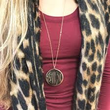 monogrammed pendant monogram disc pendant necklace 2 inch i jewelry