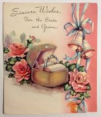 wedding wishes card box groom gold rings bands lovely box 1940 s vintage wedding