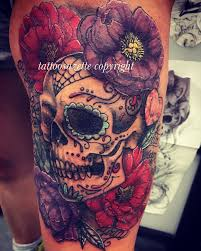 collection of 25 purple sugar skull on shoulder