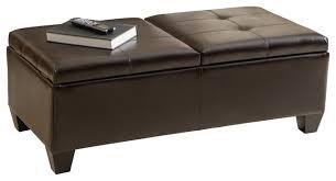 alpine leather storage ottoman coffee table transitional