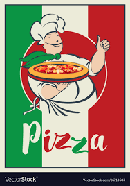 chef pizza banner with italian flag pizza and winking chef vector image