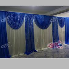 Blue Swag Curtains Luxury Royal Blue Wedding Backdrop Curtain Sequins Swag 3m 6m 10ft